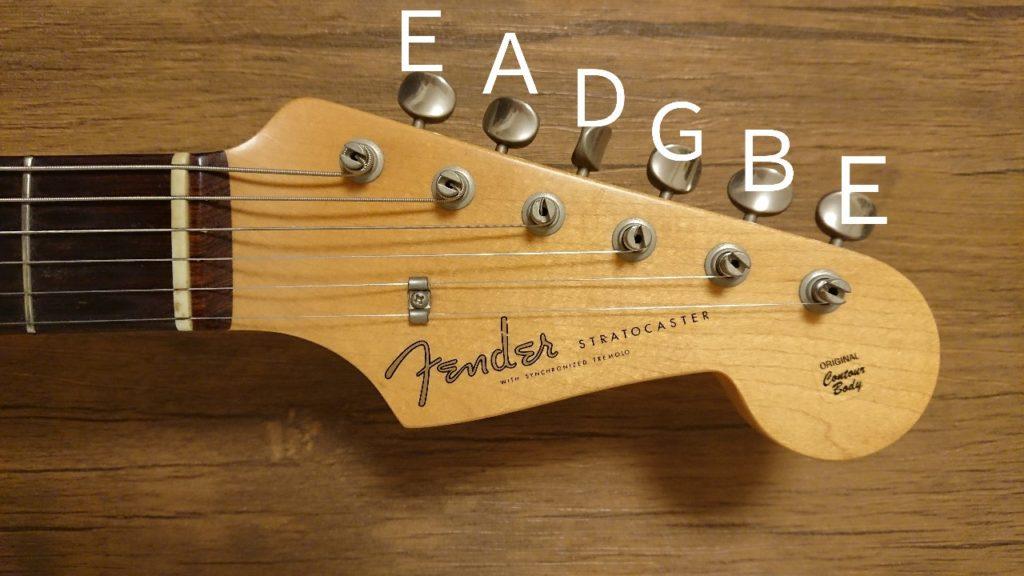 ギターのペグとレギュラーチューニング時の音の配列